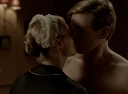 Edna kisses Branson Downton