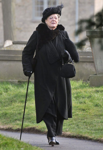 Countess Violet on the set of Season 4 Downton Abbey