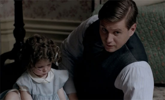 Branson and baby Sybil, Downton Abbey